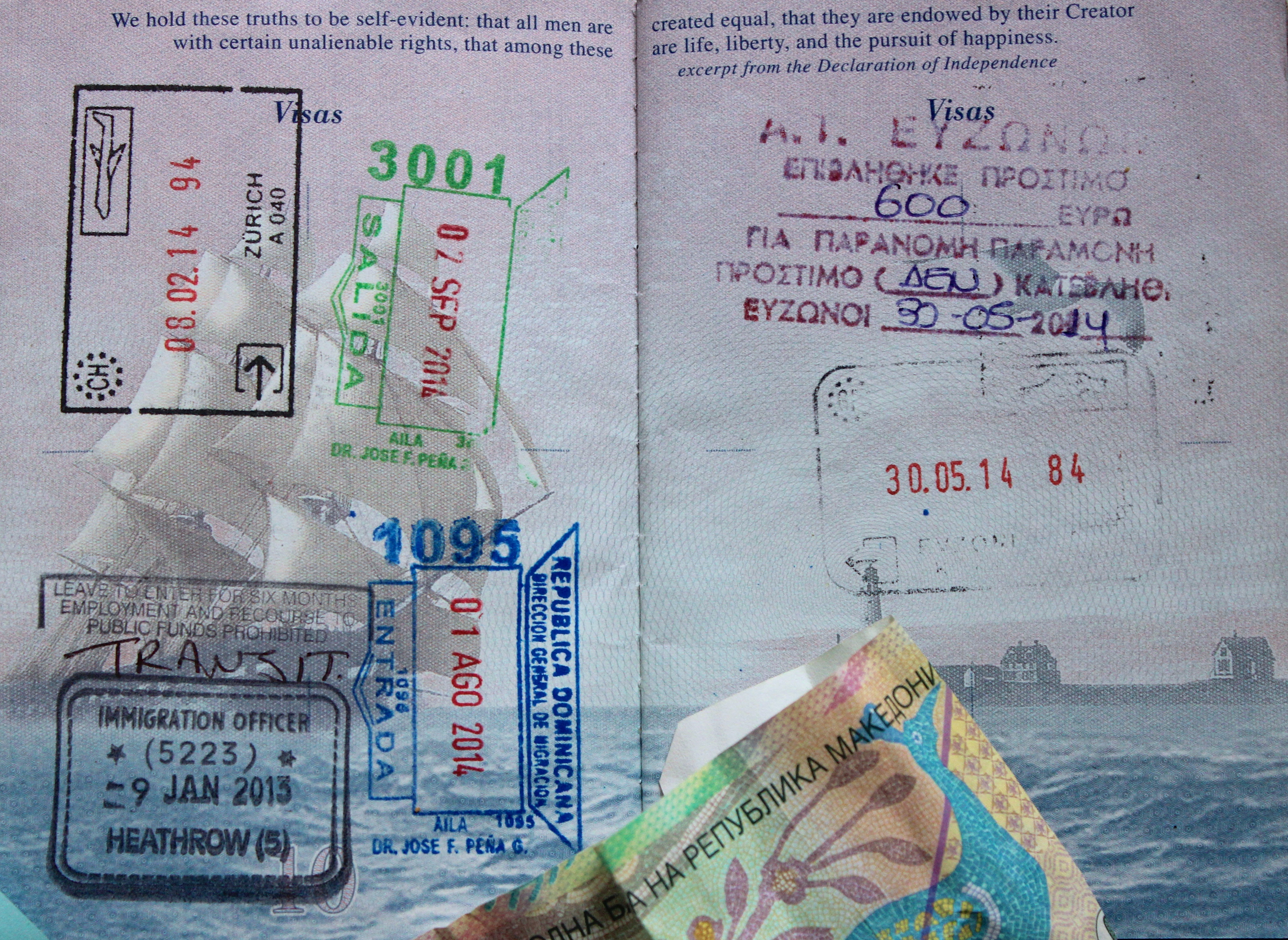 Upper right corner my leave fee from Greece? the first time in 6 summers coming and going with two passports, I had to pay a fee?!