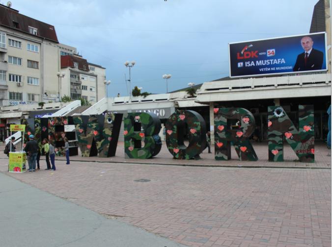 "The bold blocks representing the amazing children of Pristina. The ""Newborn""."