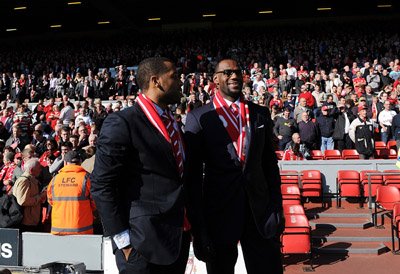 Lebron James attending a Liverpool FC match-
