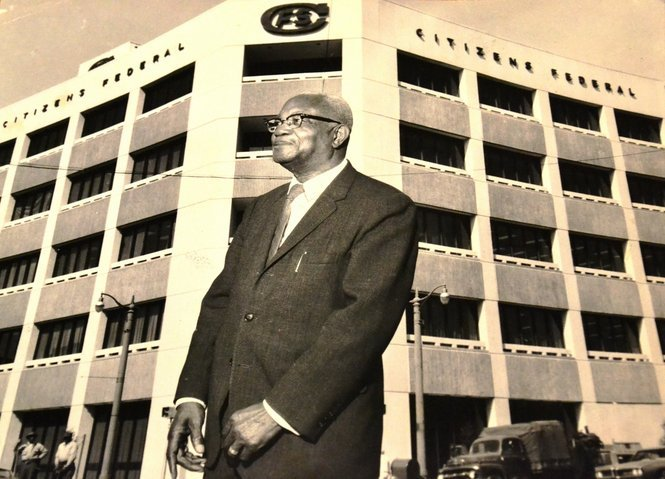 Dr. Gaston outside Citizens Insurance Building.  copyright getty images. 2015