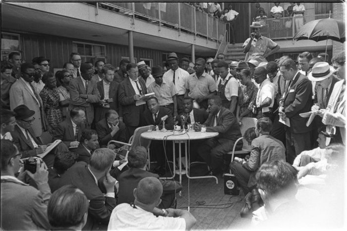 Martin Luther King Jr. at the A.G. Gaston Motel.  copyright getty images. 2015